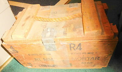 Vintage US ARMY 81MM WOODEN AMMUNITION AMMO CRATE WOOD MORTAR BOX,M43A1 WW2,rare