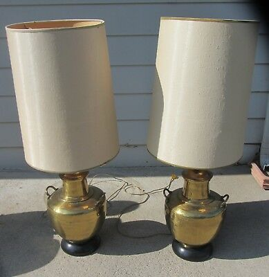 Pair Fine Asian Brass Hollywood Regency Lamps James Mont w/ Shades Mid Century