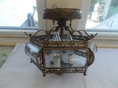 Antique Hanging Light Fixture with Etched Curved Glass and Intricate Detail
