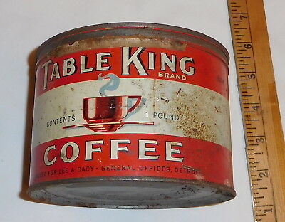vintage Table King Coffee Brand one pound Tin Can EMPTY with lid
