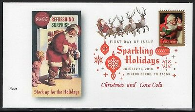 SPARKLING HOLIDAYS  - FIRST DAY COVER -  2018 - United States (COCA COLA CACHET)