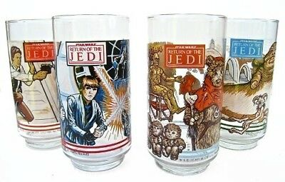 Vintage Star Wars 1983 Return of the Jedi Set of 4 Burger King Glasses Coca Cola
