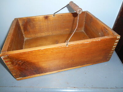 Vintage Dovetail Wooden Tote Box With Metal and Wood Handle VGC