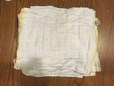 10 Lot Green Mountain Diapers GMD Cloth-eez Organic Prefold Diapers, Size Small