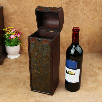 Single Bottle Wood Wine Box Carrier Crate Case Best Gift Decor 34 * 11.5* 11cm