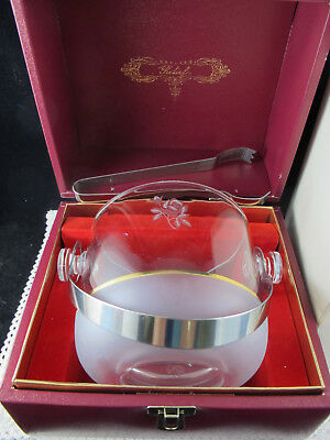 VINTAGE 1960's ICE BUCKET & TONGS ADERIA GLASS RELIEF JAPAN ORIGINAL BOXED ROSE