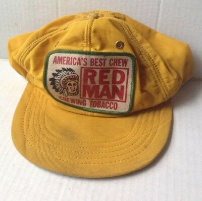 5ee52babbc360 1970s 1980s RED MAN CHEWING TOBACCO TRUCKER BASEBALL CAP HAT, YELLOW,  VINTAGE