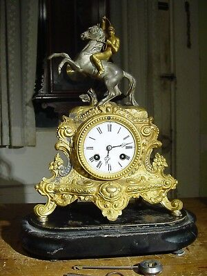 Antique Rare French 1800's Statue Clock With Base Porcelain Dial Bell Strike