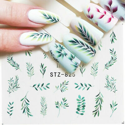 5 Sheets Nail Water Decals Flower Leaf Geometry Transfer Stickers Nail Art Tips