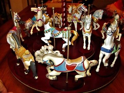 1988 FRANKLIN MINT TREASURY OF CAROUSEL ART SET OF 12 HORESES w/ coa