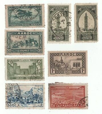 Maroccan x8 used stamps dated from 1917 onwards.