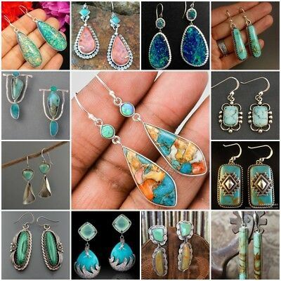Women Boho Turquoise Tibetan 925 Silver Earrings Hook Drop Dangle Wedding Gift