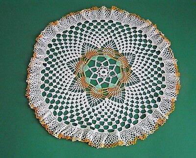 Vintage Large Round Crochet Cream Orange Green Doily Center Piece Doily
