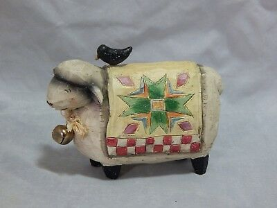 Country Style Quilted Sheep Figurine