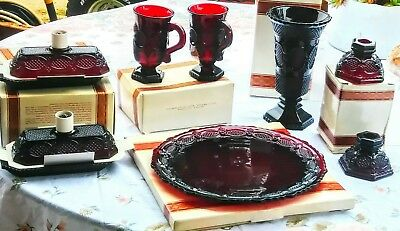 Avon Ruby Red 1876 Cape Cod Collection mixed lot covered butter dish,pedastalmug