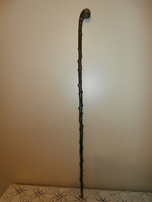 Antique Authentic Irish Shillelagh Natural Walking Stick~1800's~Orig. Brass Tip