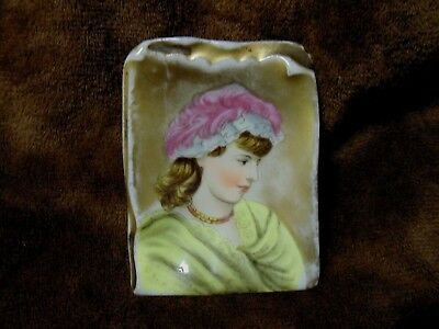 Vintage Antique Hand Painted Pin Tray w/Face