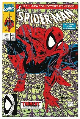 SPIDER-MAN # 1 August 1990 Marvel TODD MCFARLANE green cover edition