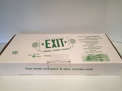 Black Exit Sign  Compact And Slim Combo Unit   Damp Location Snap Dry Canopy