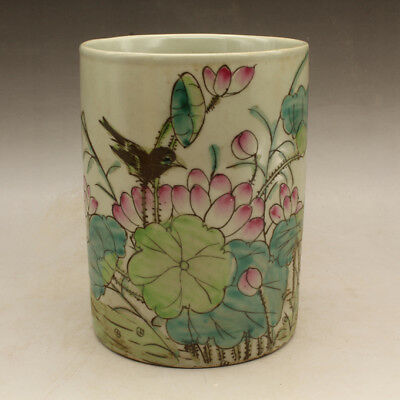 Chinese old porcelain famille rose flower and bird brush pot hand-made c02
