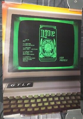 Miller Lite Beer / 1980's User Friendly First Computer Poster Man Cave