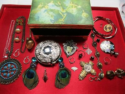Vintage Lot Mix Antique Victorian art Deco Style Brooches-Earrings-Rings & More