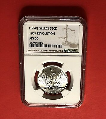 1967(1970)-Greece 50 Drachmai Silver Coin,graded By Ngc Ms66....rare Grade