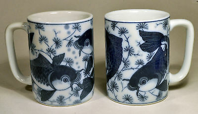 Chinese Coffee Mug Cup Blue & White Hornpout Fish Catfish