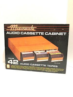 Musicmate  Audio Cassette Cabinet Storage Organizer Holds 42 Tapes Sealed!