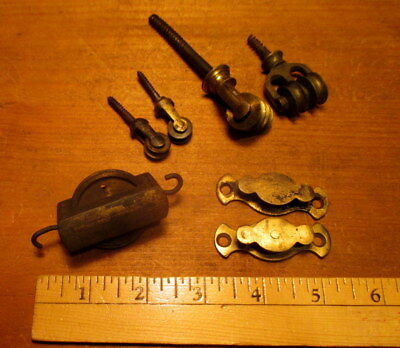 7 Vintage Small Brass Pulleys Clock Pulley Hardware