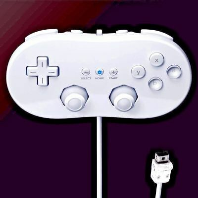 White Wired Classic Controller Pro For Retro Wii/Wii U Console Controller Remote