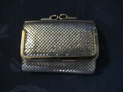 Hato Hasi Silver Mesh Notes Wallet / Coin Purse - Vintage Glomesh Style