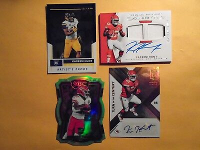 2017 Kareem Hunt 1/1 AUTO LOT of 4 All #'ed to his Jersey Treasures Die Cut Rc