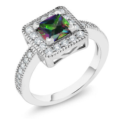 1.44 Ct Princess Green Mystic Topaz 925 Sterling Silver Ring