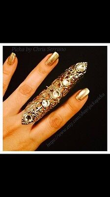 Shield Full finger ring, vintage style filigree,silver color meta