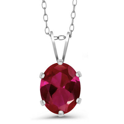 1.15 Ct Oval Red Created Ruby 925 Sterling Silver Pendant With Chain