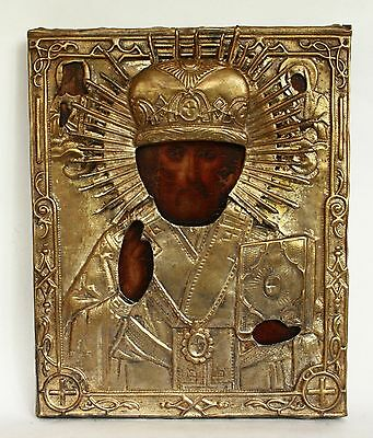 Antique 19th C Russian Orthodox Hand Painted Wood Icon of Saint Nicholas