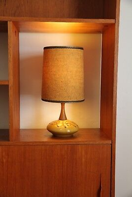 Vintage Retro Mid-Century Table Lamp with Teak Stem & Ceramic Base - Mustard