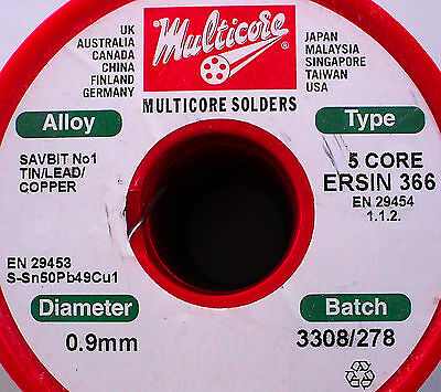 1 Metre Length - Ersin Multicore 366 Flux Core Solder Wire - Tin Lead Copper