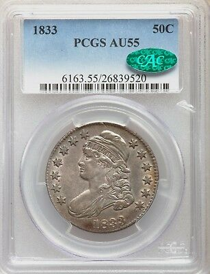 1833 PCGS + CAC AU55 Capped Bust Silver Half Dollar Type Coin About Uncirculated