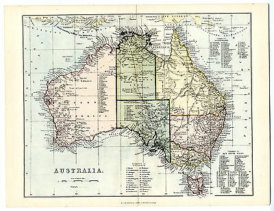 1868 Antique Map AUSTRALIA Counties STATES Alexandra Land NSW Victorian Print