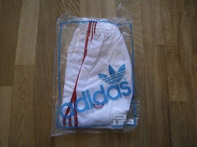 Vintage White ADIDAS 1980s Shiny Nylon Shorts Made In England 90/36 In Bag Glanz