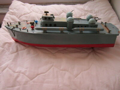 VINTAGE MODEL JAPANESE 1940s DESTROYER BATTERY OPERATED WOOD BOAT