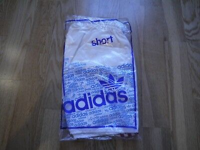 Vintage White ADIDAS 1980s Shiny Nylon Shorts Made In France 85/34 In Bag Glanz
