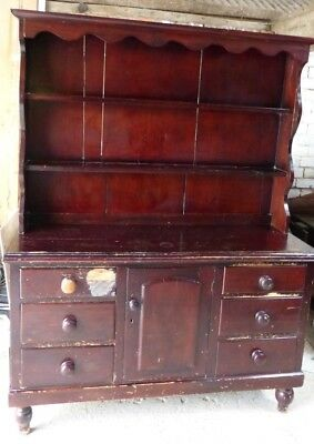 *clearance* 30% Off!! Antique Victorian Welsh Dresser Six Drawers Central Door