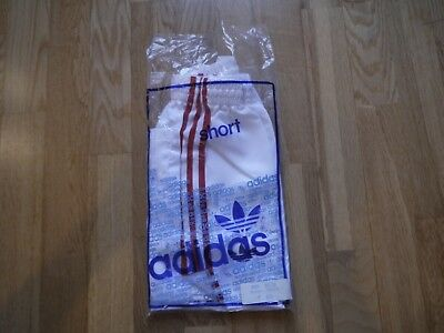 Vintage White ADIDAS 1980s Shiny Nylon Shorts Made In France 95/38 In Bag Glanz