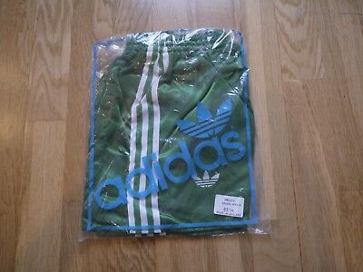 Vintage Green ADIDAS 1980s Shiny Nylon Shorts Made In England 85/34 In Bag Glanz