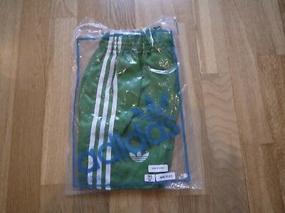 Vintage Green ADIDAS 1980s Shiny Nylon Shorts Made In France 90/36 In Bag Glanz