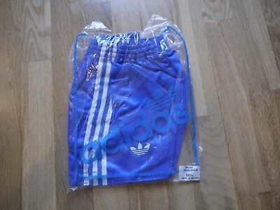 Vintage Blue ADIDAS 1980s Shiny Poly Shorts Made In England 80/32 In Bag Glanz
