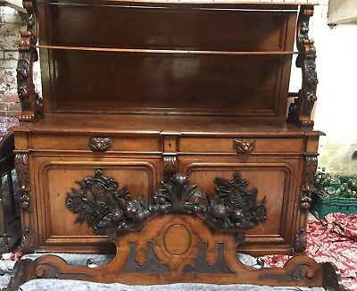 *clearance* 30% Off!!antique 19Th C Italian Walnut Sideboard Dresser Wh Carvings